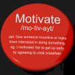 Motivate Definition Button Showing Positive Encouragement Or Ins - Stock Photo