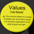 Values Definition Button Showing Principles Virtue And Morality — Stock Photo