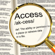Access Definition Magnifier Showing Permission To Enter A Place — Stock Photo