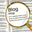 Stock Photo: Blog Definition Magnifier Showing Website Blogging Or Blogger