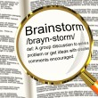 Brainstorm Definition Magnifier Showing Research Thoughts And Di — Photo