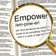 Empower Definition Magnifier Showing Authority Or Power Given To — Stock Photo