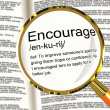 Encourage Definition Magnifier Showing Motivation Inspiration An — Stock Photo