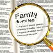 Family Definition Magnifier Showing Mom Dad And Kids Unity - Stock Photo