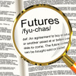 Stock Photo: Futures Definition Magnifier Showing Advance Contract To Buy Or
