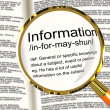 Information Definition Magnifier Showing Knowledge Data And Fact — Stock Photo
