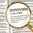 Innovate Definition Magnifier Showing Creative Development And I — Stock Photo