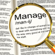 Manage Definition Magnifier Showing Leadership Management And Su — Stock Photo