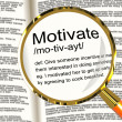 Motivate Definition Magnifier Showing Positive Encouragement Or — Stock Photo