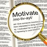 Motivate Definition Magnifier Showing Positive Encouragement Or — Stock Photo