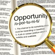 Opportunity Definition Magnifier Showing Chance Possibility Or C — Stock Photo #10584402