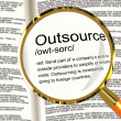 Stock Photo: Outsource Definition Magnifier Showing Subcontracting Suppliers
