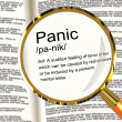 Stock Photo: Panic Definition Magnifier Showing TraumStress And Hysteria