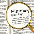 Stock Photo: Planning Definition Magnifier Showing Organizing Strategy And Sc