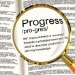 Stock Photo: Progress Definition Magnifier Showing Achievement Growth And Dev