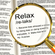图库照片: Relax Definition Magnifier Showing Less Stress And Tense