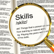 Skills Definition Magnifier Showing Aptitude Ability And Compete — Stock Photo