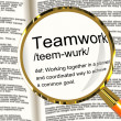 Stock Photo: Teamwork Definition Magnifier Showing Combined Effort And Cooper