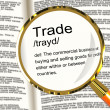 Trade Definition Magnifier Showing Import And Export Of Goods — Stock Photo #10584488