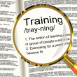 Training Definition Magnifier Showing Education Instruction Or C — Stock Photo