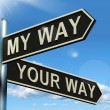 Stock Photo: My Or Your Way Signpost Showing Conflict Or Disagreement