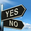 Yes No Signpost Showing Indecision Choosing And Dilemma — Stock Photo #10584687