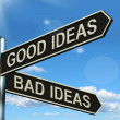 Stock Photo: Good Or Bad Ideas Signpost Showing Brainstorming Judging Or Choo