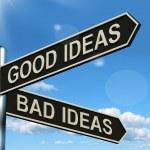 panneau de bonnes ou mauvaises idées montrant le remue-méninges de juger ou choo — Photo