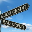 Good Bad Credit Signpost Showing Customer Financial Rating - Stock Photo