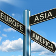 Europe Asia America Signpost Showing Continents For Travel Or To — Stock Photo #10584707