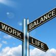 Work Life Balance Signpost Showing Career And Leisure Harmony — Stock Photo