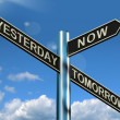 Yesterday Now Tomorrow Signpost Shows Schedule Diary Or Plan — Stock Photo