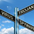 Stock Photo: Virus TrojSpyware Signpost Showing Internet Or Computer Threa