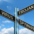 Virus TrojSpyware Signpost Showing Internet Or Computer Threa — Stock Photo #10584724