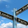London Paris New York Signpost Showing Travel Tourism And Destin — Stock Photo