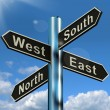 Stock Photo: North East South West Signpost Shows Travel Or Direction