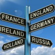 England France Germany Ireland Signpost Showing Europe Travel To - Foto de Stock