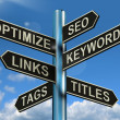 Seo Optimize Keywords Links Signpost Shows Website Marketing Opt — Stock Photo #10584761
