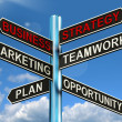 Business Strategy Signpost Showing Teamwork Marketing And Plans — Stock Photo