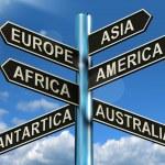 Europe Asia America Africa Antartica Australia Signpost Showing — Stock Photo