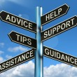 Stock Photo: Advice Help Support And Tips Signpost Showing Information And Gu
