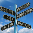 Puzzled Confused Lost Signpost Showing Puzzling Problem — Stock Photo #10584791