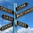 Credit Loan Mortgage Signpost Showing Borrowing Finance And Debt - Photo