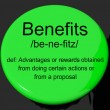 Benefits Definition Button Showing Bonus Perks Or Rewards — Stock Photo