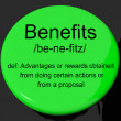 Stock Photo: Benefits Definition Button Showing Bonus Perks Or Rewards