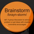 Brainstorm Definition Button Showing Research Thoughts And Discu — Foto de Stock