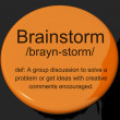 Brainstorm Definition Button Showing Research Thoughts And Discu — Stock Photo
