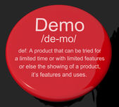 Demo Definition Button Showing Demonstration Of Software Applica — Stock Photo