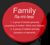 Family Definition Button Showing Mom Dad And Kids Unity — Stock Photo