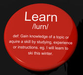 Learn Definition Button Showing Knowledge Gained And Study — Stock Photo